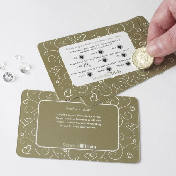 Contemporary Heart Trivia Scratch Cards - Ivory & Gold (10)